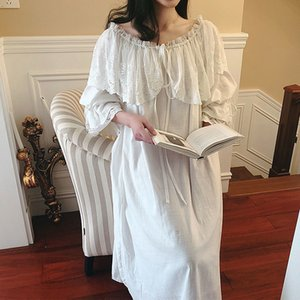 Wholesale Women s Lolita Princess Sleepshirts Vintage Palace Style Dress Wide Lace Nightgowns cotton Victorian Nightdress Sleep Loungewear Y19051701
