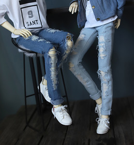 D01-P248 children handmade toy 1 3 1 4 uncle Doll Accessories BJD SD doll Casual shredded jeans 1pcs