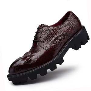 Wholesale Sipriks Thick Rubber Sole Dress Shoes Men Elevator Shoes Genuine Leather Red Brown Mens Topsiders Derby Alligator Leather