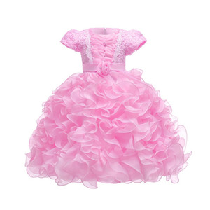 Children's Dress Short Sleeve Flower Girl Princess Dress Organza Tutu Eur American Style Multicolor Lace Lovely Dress 28