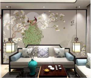 Wholesale painted flowers for walls chinese resale online - WDBH custom photo d wallpaper Chinese style hand painted flowers and birds magnolia peacock decor d wall murals wallpaper for walls d
