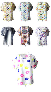 2018 fashion casual print multicolor round neck short-sleeved T-shirt bat shirt ladies short-sleeved T-shirt 9103