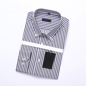 2018 summer classic style patchwork shirt men shirts fashion Brand Long sleeve horizontal striped men's casual shirts white male