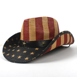 Wholesale Summer Unisex Handmade American Flag Cowboy Straw Sun Hat With Leather Band USA Wild Brim Caps For Men And Women