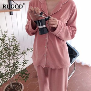 Wholesale RUGOD Casual Two piece pajamas set women V Neck Single breasted Tops Blouse with Pocket Full Length Straight Pants suits female