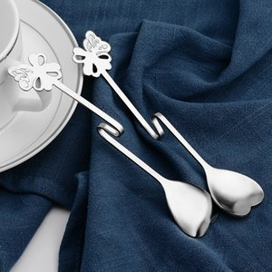 Wholesale Butterfly Heart Shape Spoons Stainless Steel Bent Handle Scoop