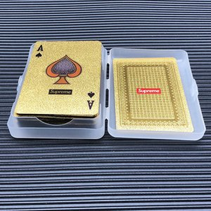 Wholesale Toy FW s gold poker Fashion logo luxury gold color playing cards sup