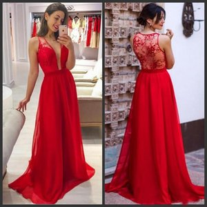 Red Simple Wedding Guest Dresses Sexy Deep V Neck Back Hollow Lace Chiffon Maid Of Honor Gowns Floor Length 2019 Fashion Bridesmaid Dresses on Sale