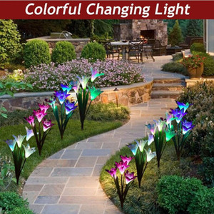 Outdoor Solar Garden Stake Lights Solar Powered Lights with Lily Flower Multi-color Changing LED Solar Lawn Lamps for Garden Patio Backyard