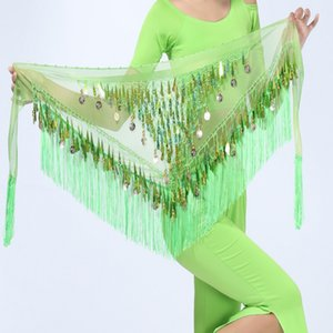 Wholesale Hip Scarf Chiffon Coins Tassels Sequins Triangle Skirt Belly Dance Costume