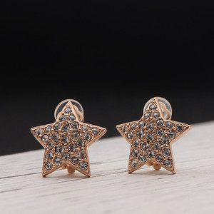 Wholesale New Earrings Clip for No Pierced Ears Jewels For Women New Fashion Pentagram Star Shape Austria Crystal Nickel Free Plating
