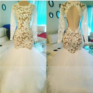 2019 Sexy Elegant African Long Evening Gowns Mermaid Tulle With Lace Prom Dress Long Length Lace Appliques White Party Gowns on Sale