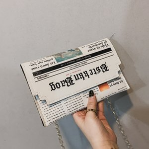 Envelope Bag Women 2020 New Personality Inkjet Newspaper Clutch Bags Joker Shoulder Messenger Bag Chain Evening Bags
