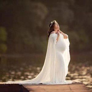 Chiffon Shawl Dress Maternity Photography Props Elegant Maxi Gown Pregnancy Dress Shoulderless Maternity Dresses For Photo Shoot
