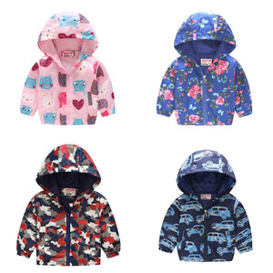 Wholesale Baby Cartoon Hooded Coat Colors Boys Girls Unisex Printed Jackets Kids Casual Elastic Long Sleeve Sweatshirts Designer Zipper Coats