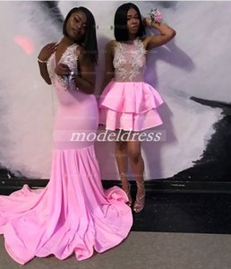 2019 Pink Short Cocktail Party Dresses Halter Backless Tiered See Through Appliques Beads Mini Prom Evening Gowns Homecoming Dress Cheap on Sale