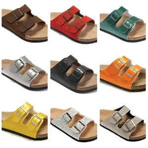 Newest Genuine Leather Slippers Mens Flat Sandals Womens Shoes Double Buckle Famous Brand Arizona Summer Beach Top Quality With Orignal Box on Sale