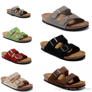 Wholesale Newest Genuine Leather Slippers Men Arizona Sandals Flat Flop Women Shoes Double Buckle Famous Cork Softfoot Hot Slippers Shoes Summer Beach