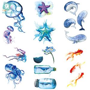 Rocooart RC464-475 New Water Proof Temporary Tattoo Stickers Cartoon Coloful Ocean Fish Dance Fake Flash Taty Tattoo tatouage C18122801
