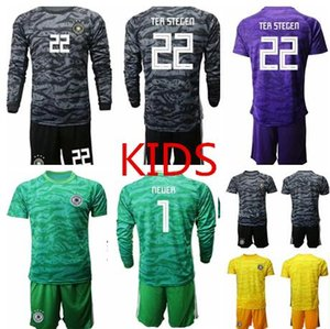 World Cup Team Ger many KIDS Soccer Jerseys Goalkeeper Kit GK #1 NEUER # 22 TER STEGEN Shirt Goalie Uniforms Youth Football Long Sleeve Kit