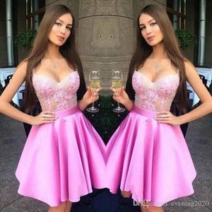 Wholesale Graceful Pink Short Party Dresses Scoop A-Line Lace Appliques With Sashes Special Occasion Dresses Sexy Evening Dresses