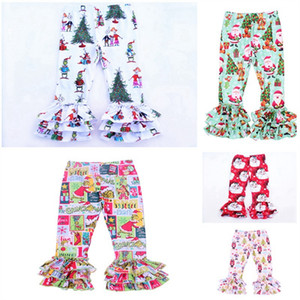 Wholesale 1 Y Toddler kid boy Girls Christmas Ruffle Pants Milk Silk Print Grinch Ruffle Leggings Santa Claus Icing Leggings Baby Winter Clothes