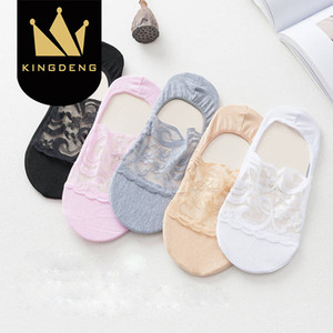 Wholesale KingDeng Women Lace Boat Socks No Show Short Transparent Korean Style Women Plain Color Simple Fashion Design Harajuku Summer