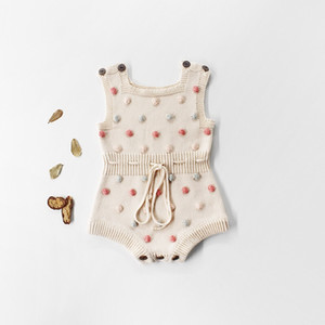 Wholesale Toddler Baby Girls Rompers INS New Autumn Infant Polka Dots Knitting Jacquard Vest Jumpsuit Kids Girls Sweater Bodysuit Babies Oneise T