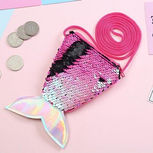 Women Mermaid Tail Sequins Coin Purse Girls Crossbody Bags Sling Money Change Card Holder Purse Bag Pouch For Gifts #32286 on Sale
