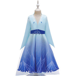 Wholesale Girls Cartoon Cosplay Frozen 2 Dresses Kids Cosplay Party Dress Princess Dresses Yestidos Kids Designer Costume Long Sleeve Set 3-9T 04