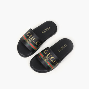 Hot Sale Children's Leather Slippers Brand Letter Slippers Sandals Boys Girls Leather Sandals Beach Slippers new