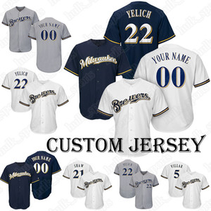 Brewers jersey 22 Christian Yelich jersey Baseball Custom jersey 24 Aguilar 43 Albers 57 Anderson 3 Arcia 50 Barnes T shirt