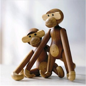 Wholesale Nordic Figurine Art Home Decoration Cute Puzzle Wooden Monkey figure Toys Different Poses Birthday Gifts Crafts for Kids Ornaments