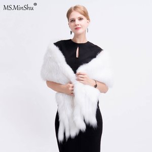 Wholesale Ms MinShu Drop Shipping White Fox Fur Shawl Hand Knitted Foxs Fur Wrap Natural Fox Hair Scarf with Fringes Wedding Shawl