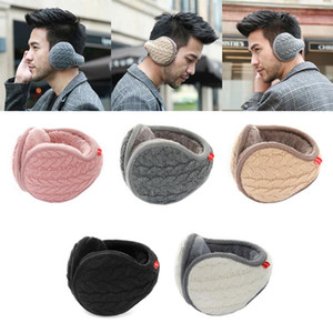 Wholesale Winter Earmuffs Warm Wool Knitted Ear Warmer Foldable Faux Cashmere Ear Muff Ear Cover Bag Back Wear Earflap For Men