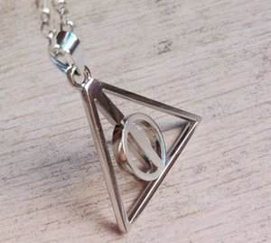 Wholesale Harry Style Jewelry Stainless Steel Deathly Hallows Pendant Necklace Movie Trendy Jewelry Long Chain Triangle Necklace