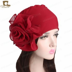 Wholesale kings hats gold resale online - NEW Women King Flower Size Stretchy Beanie Turban hat Bonnet Chemo Cap For Hair Loss Muslim Bandana Islamic Hijab
