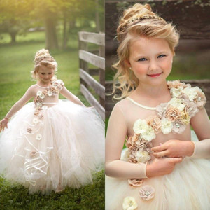 Wholesale christmas holidays wedding dresses resale online - 2020 Cute D Floral Beaded Girls Pageant Dresses Children Birthday Holiday High Low Party Dresses Princess Flower Girl Dresses BC3451