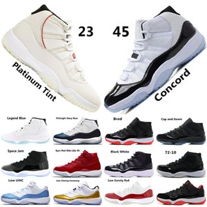 Concord 45 XI 11s Men Basketball Shoes Platinum Tint Gym Red Win Like 96 Mens Designer Shoes Cap and Gown 11s Sports Sneakers