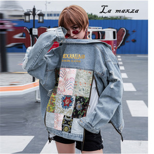 Women Winter Denim Jacket and Coat Fashion Patchwork Bomber Crop Vinatge Women Jackets 2018