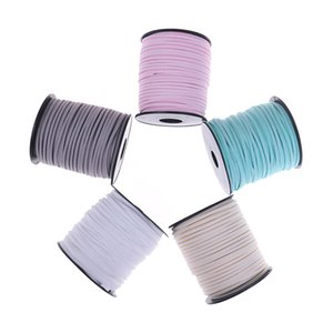 Wholesale 50Yards Macrame Braided Faux Suede Cord Leather Lace DIY Handmade Beading Bracelet Jewelry Making Flat Thread String Rope mm