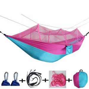 Wholesale 12 Style Mosquito Net Hammock cm Outdoor Parachute Cloth Field Camping Tent Garden Camping Swing Hanging Bed Free Ship AA19152