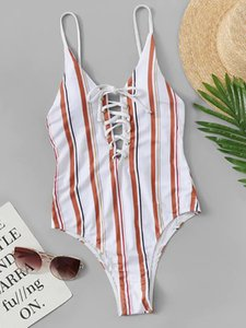 Bikini2019 bikini cutout with banding stripes backless high-waisted swimsuit for foreign trade cross-border new swimsuit