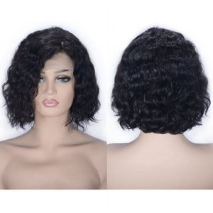Wholesale bobs side part resale online - Mongolian Virgin Hair Lace Front Wig Bob Wig Water Wave Natural Color Side Part Glueless Human Hair Wig