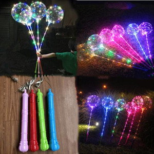 Bobo Ball LED line with Stick handle Wave Ball 3M String Balloons Flashing light Up for Christmas Wedding Birthday Home Party Decor Gifts