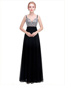 Beaded Crystal Chiffon Party Maxi Dress with Spaghetti Straps 2020 Floor Length Prom Gowns vestidos de fiesta on Sale