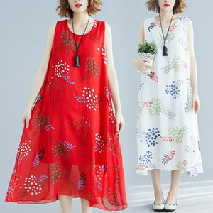 Wholesale Womens Long Dress Summer Sleeveless Chiffon Maxi Dresses Bohemian Printed Beach Holiday Dress A Line Ladies Large Size White Yellow