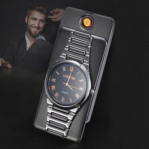 Creative 2 in 1 quartz watch lighter coil heater USB Rechargeable Electric cigarette Lighter Windproof men's gift black silver gold w0310