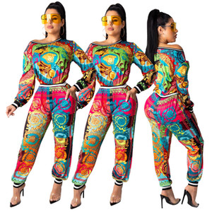 Women set long sleeve beautiful printing tshirt Top pencil pants suit two piece set fashion tracksuit