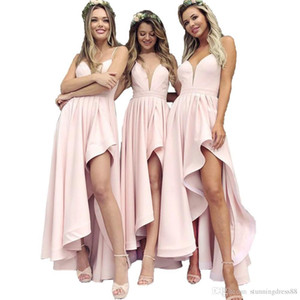 Wholesale Under Cheap Bridesmaid Dresses For Western Weddings High Low Pleats A Line Spaghetti Strap Long Wedding Guest Party Prom Gowns BM0692